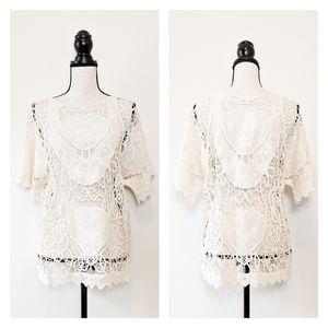 💧NWT Oddi Cotton Crochet Boho Lace Top